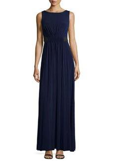 Vera Wang Sleeveless Belted Evening Gown, Midnight
