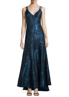 Vera Wang Sleeveless Jacquard Evening Gown, Peacock/Black