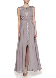 Vera Wang Sleeveless Lace Chiffon Gown