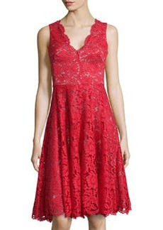 Vera Wang Sleeveless Lace Cocktail Dress, Scarlet