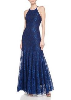 Vera Wang Sleeveless Lace Gown, Royal/Black