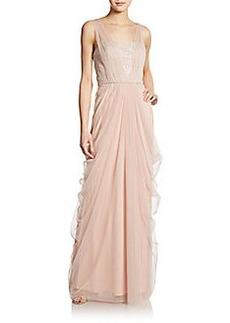 Vera Wang Sleeveless Lace Inset Goddess Gown
