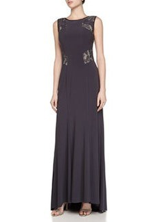 Vera Wang Sleeveless Lace-Inset Gown