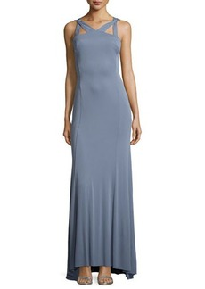 Vera Wang Strapless Cutout Crisscross-Back Gown