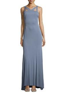Vera Wang Strapless Cutout Crisscross-Back Gown, Pewter