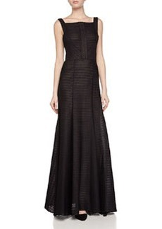 Vera Wang Textured Ribbed Gown, Black