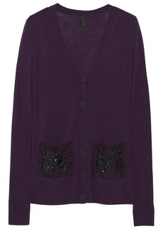 Vera Wang Tulle and sequin-embellished wool cardigan