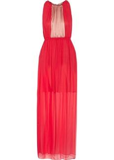 Vera Wang Two-tone silk-chiffon gown