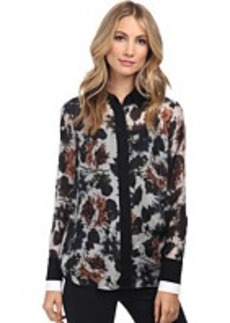 Vera Wang Watercolor Rose Habotai Shirt w/ Black & White Double Cuff