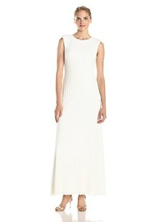 Vera Wang Women's Sleeveless Sequins Open Back Gown