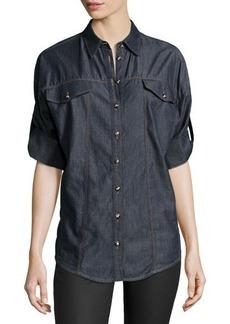 Versace 3/4-Sleeve Denim Blouse, Navy
