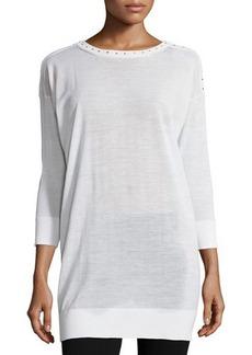 Versace 3/4-Sleeve Embellished Tunic, White