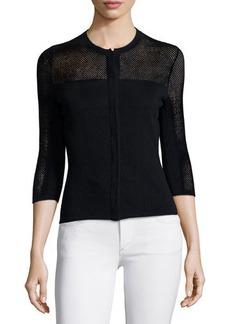 Versace 3/4-Sleeve Mesh Cardigan, Black