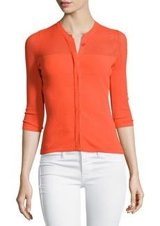 Versace 3/4-Sleeve Mesh Cardigan, Orange