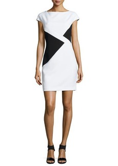 Versace Cap-Sleeve Printed Shift Dress
