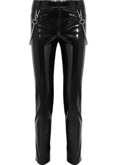 Versace Chain-trimmed faux patent-leather pants