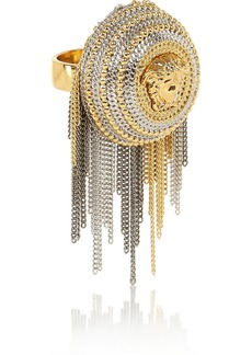 Versace Chain-trimmed gold and silver-tone ring