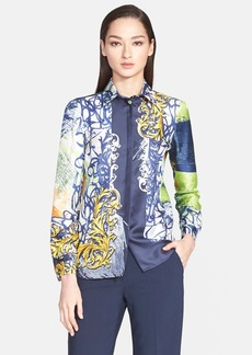 Versace Collection Abstract Print Silk Blouse