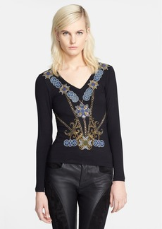 Versace Collection Bead Embellished Jersey Top