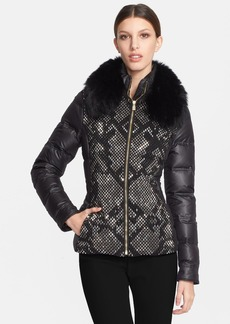 Versace Collection Down Puffer Jacket with Genuine Fox Fur Collar