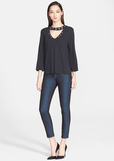 Versace Collection Eyelet Detail Fluid Jersey Top