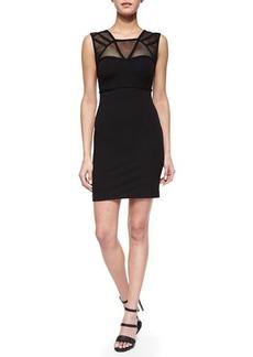 Versace Collection Geometric-Seamed Mesh Illusion Dress, Black