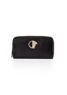 Versace Collection Glossy Snake-Embossed Zip-Around Wallet