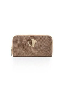 Versace Collection Glossy Snake-Embossed Zip-Around Wallet, Beige