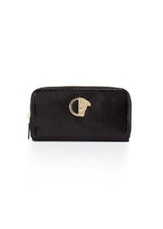 Versace Collection Glossy Snake-Embossed Zip-Around Wallet, Black