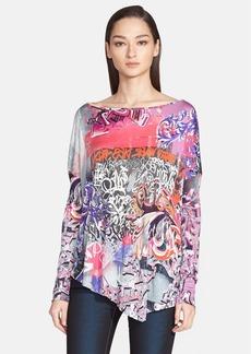 Versace Collection Graffiti Print Asymmetrical Jersey Top