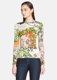 Versace Collection Graffiti Print Knit Top