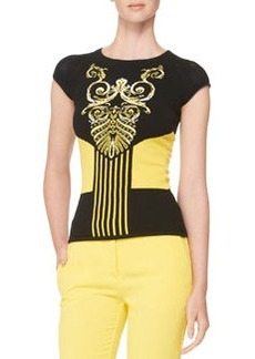 Versace Collection Intarsia-Knit Cap-Sleeve Top, Black/Yellow