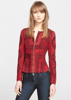 Versace Collection Mesh Inset Suede Jacket