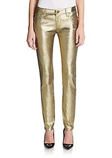 Versace Collection Metallic Mid-Rise Skinny Jeans