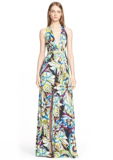 Versace Collection Open Back Print Jersey Maxi Dress