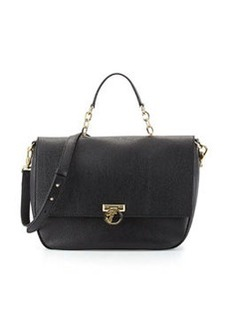 Versace Collection Pebbled Leather Satchel Bag, Black