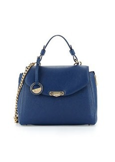 Versace Collection Pebbled Leather Satchel Bag, Blue