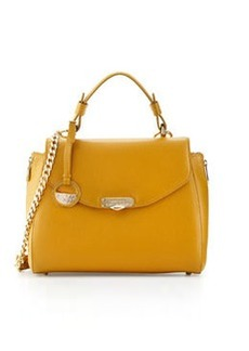 Versace Collection Pebbled Leather Satchel Bag, Yellow