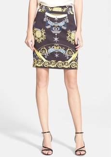Versace Collection Print Stretch Cady Skirt