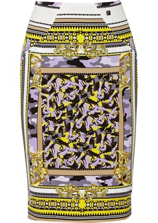 Versace Collection Printed stretch-crepe skirt