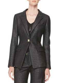 Versace Collection Raffia One-Button Jacket, Black