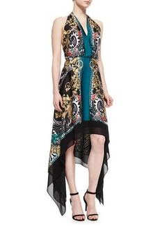 Versace Collection Scroll-Print Handkerchief Halter Dress