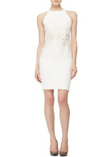 Versace Collection Stud-Embellished Sheath Dress, White