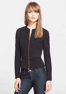 Versace Collection Studded Peplum Jersey Jacket