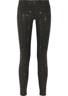 Versace Collection Studded stretch cotton-blend twill skinny pants