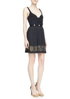 Versace Collection Sweetheart Dress with Printed Skirt