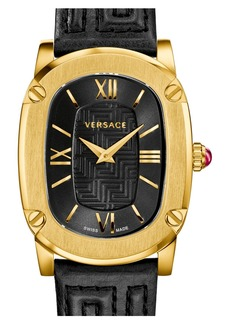Versace 'Couture' Oval Leather Strap Watch, 24mm x 41mm