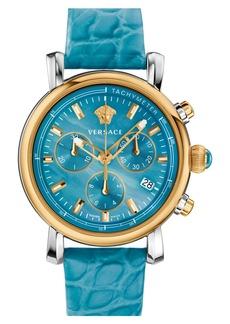 Versace 'Day Glam' Chronograph Alligator Strap Watch, 38mm