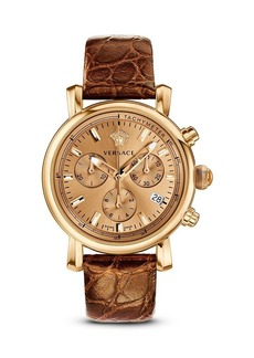 Versace Day Glam Ion-Plated Rose Gold Watch with Golden Leather Band, 38mm