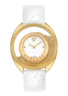 Versace 'Destiny Spirit' Croc Embossed Strap Watch, 39mm